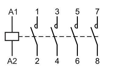 Схема четырехполюсного модульного контактора c 4NO (4 нормально открытых контакта)