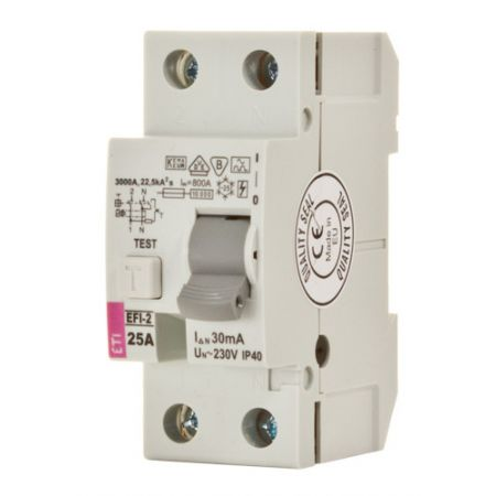 (2064122) Устройство защитного отключения  EFI6-2 25/0.3 2 полюса 25A 300мА AC. 10 кА. ETI