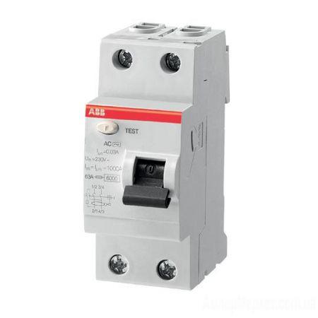 (2CSF202002R1250) Устройство защитного отключения  FH202 2P In-25 А. Un-230В. 30mA. Класс АС. ABB