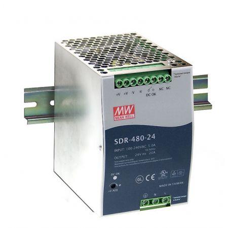 SDR-480-24 Импульсный блок питания SDR-480-24. Мощность 480 Вт. Вход 88~264В~; 124~370В=/Выход 24В