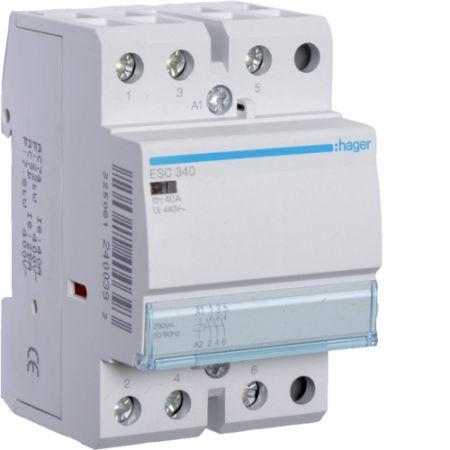 (ESC340) Модульные контакторы ESC 40 А. 3NO контакта. Uкат=220-240В. Hager