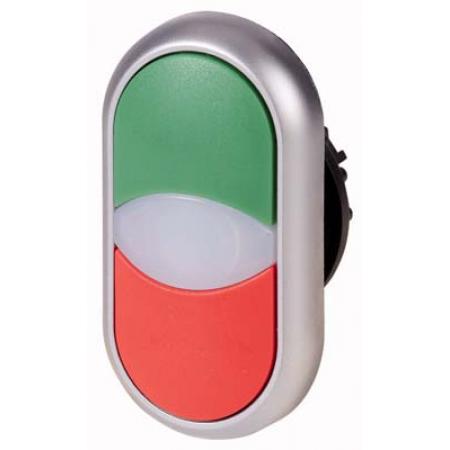 216698 M22-DDL-GR. Головка двойной кнопки с самовозвратом и подсветкой. цвет зеленый/красный. без надписи серия RMQ-Titan. Moeller an Eaton Brand