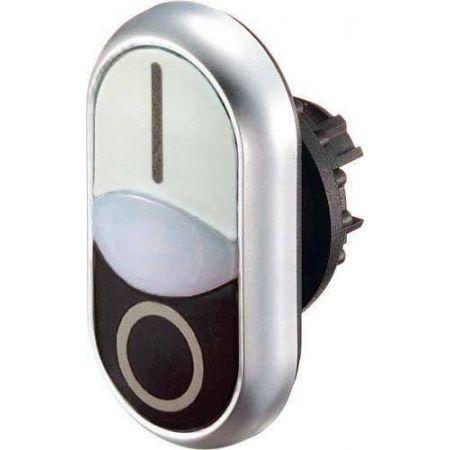 216706 M22-DDL-WS-X1/X0. Головка двойной кнопки с самовозвратом и подсветкой. цвет зеленый/красный. с надписями «I и 0» IP66. серия RMQ-Titan. Moeller an Eaton Brand