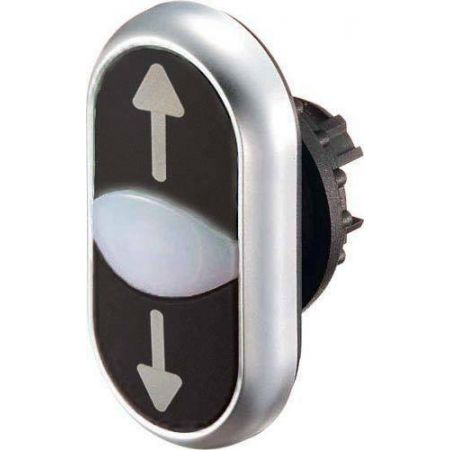 216710 M22-DDL-S-X7/X7. Головка двойной кнопки с самовозвратом и подсветкой. цвет черный/белый. с символами «вверх и вниз» IP66. серия RMQ-Titan. Moeller an Eaton Brand