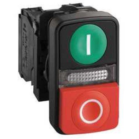 XB5AW73731B5. Двойная кнопка c подсветкой в сборе с самовозвратом. красно/зеленая. с символами «I» и «О». 1NO+1NC. 24V AC/DC. IP66. серия Harmony XB5. Schneider Electric