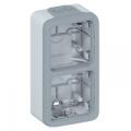 (069661) Монтажная коробка на 2 механизма. вертикальная установка. IP55 Plexo серый. Legrand