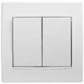 AYA0300221 Выключатель двухклавишный с белой вставкой Anya белый